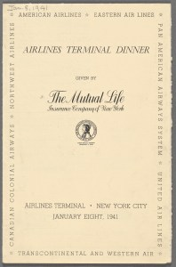 Menu cover page dedication dinner of the Airlines Terminal.
