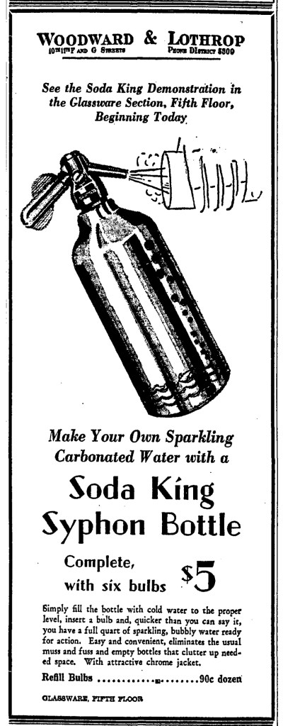 Soda King Syphon advertisement. Washington Post - September 9, 1935