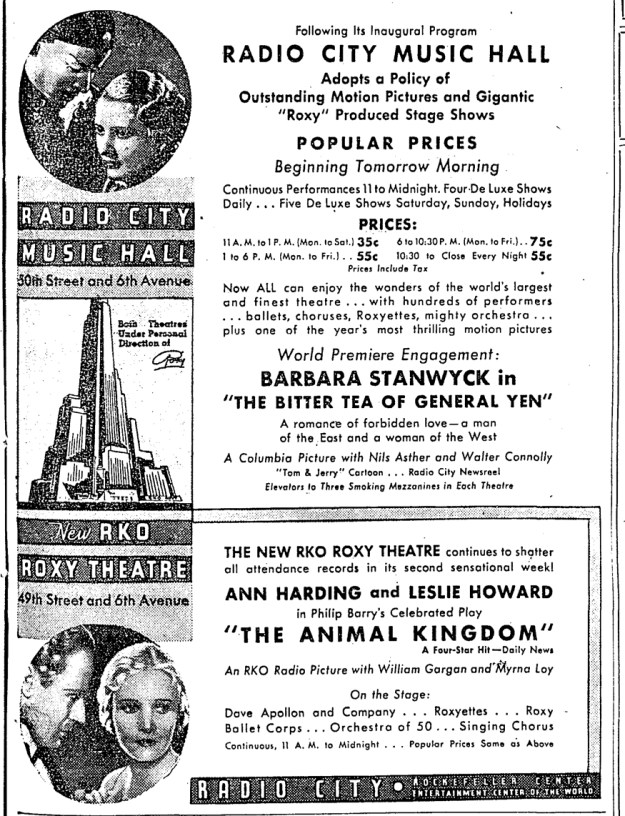 NY Herald Tribune ad announcing the Music Hall's policy change.