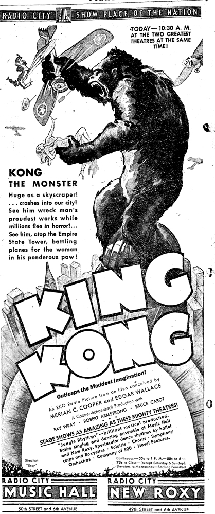 NY Herald-Tribune ad for King Kong.