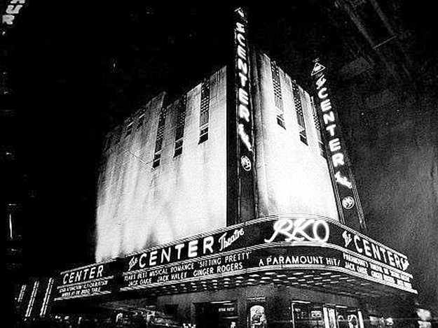 Nighttime view of the R-K-O Center Theatre, January, 1934.