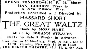 NYT ad for The Great Waltz.
