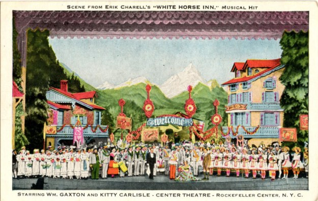 Postcard view of the stage production of White Horse Inn.