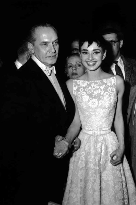 Fredric March and Audrey Hepburn.