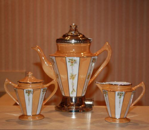 Tan stripe coffee service from Royal Rochester.