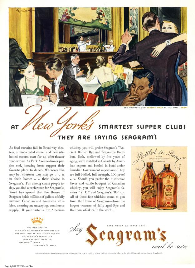Seagram Whiskey ad, 1935 featuring the Persian Room.