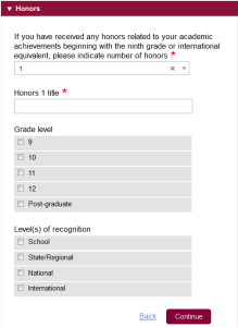Common app Honor