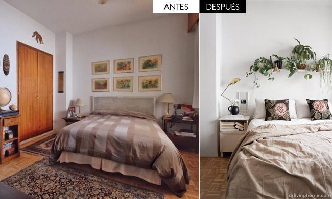 Antes y después del dormitorio principal