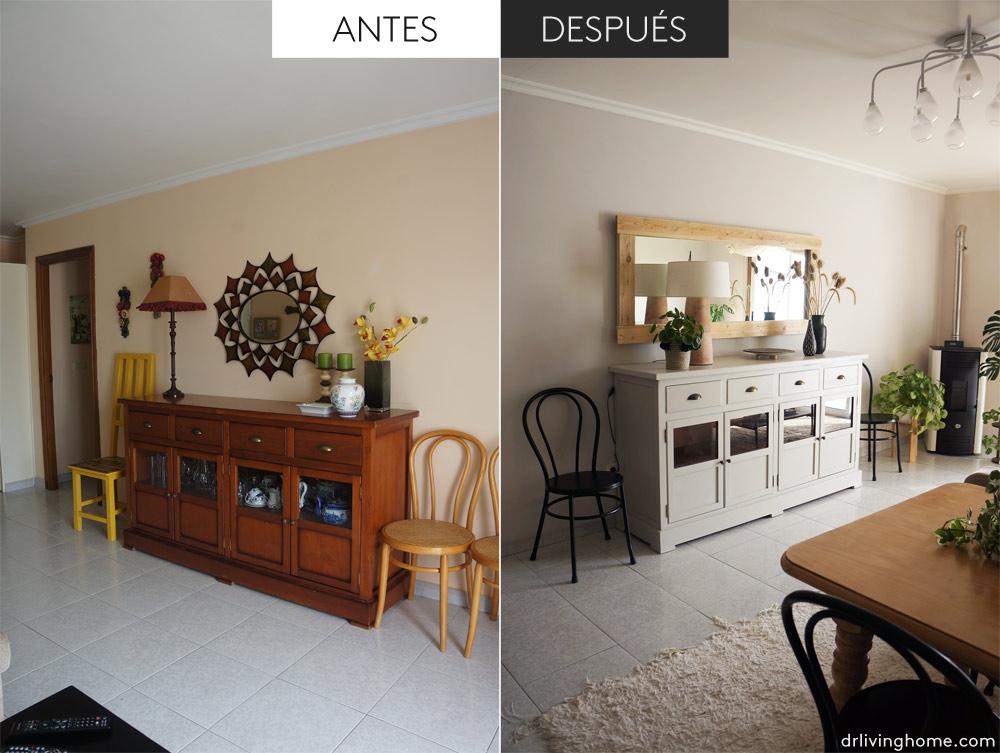 Antes y después de la casa de la playa – El salón