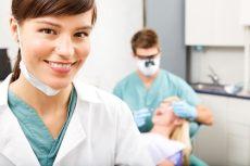 dental hygienist in foreground