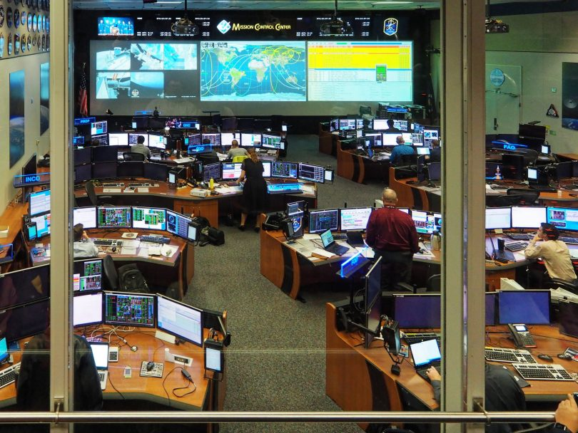 A more modern control center used for the International Space Station.
