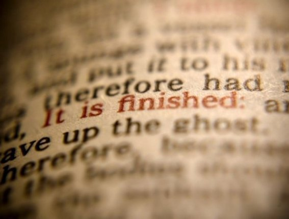 Scripture - it is finished in red letters