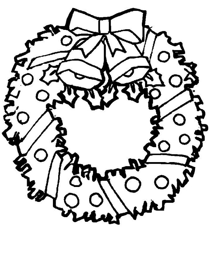 Christmas Wreath Coloring Pages Wreath Ornaments