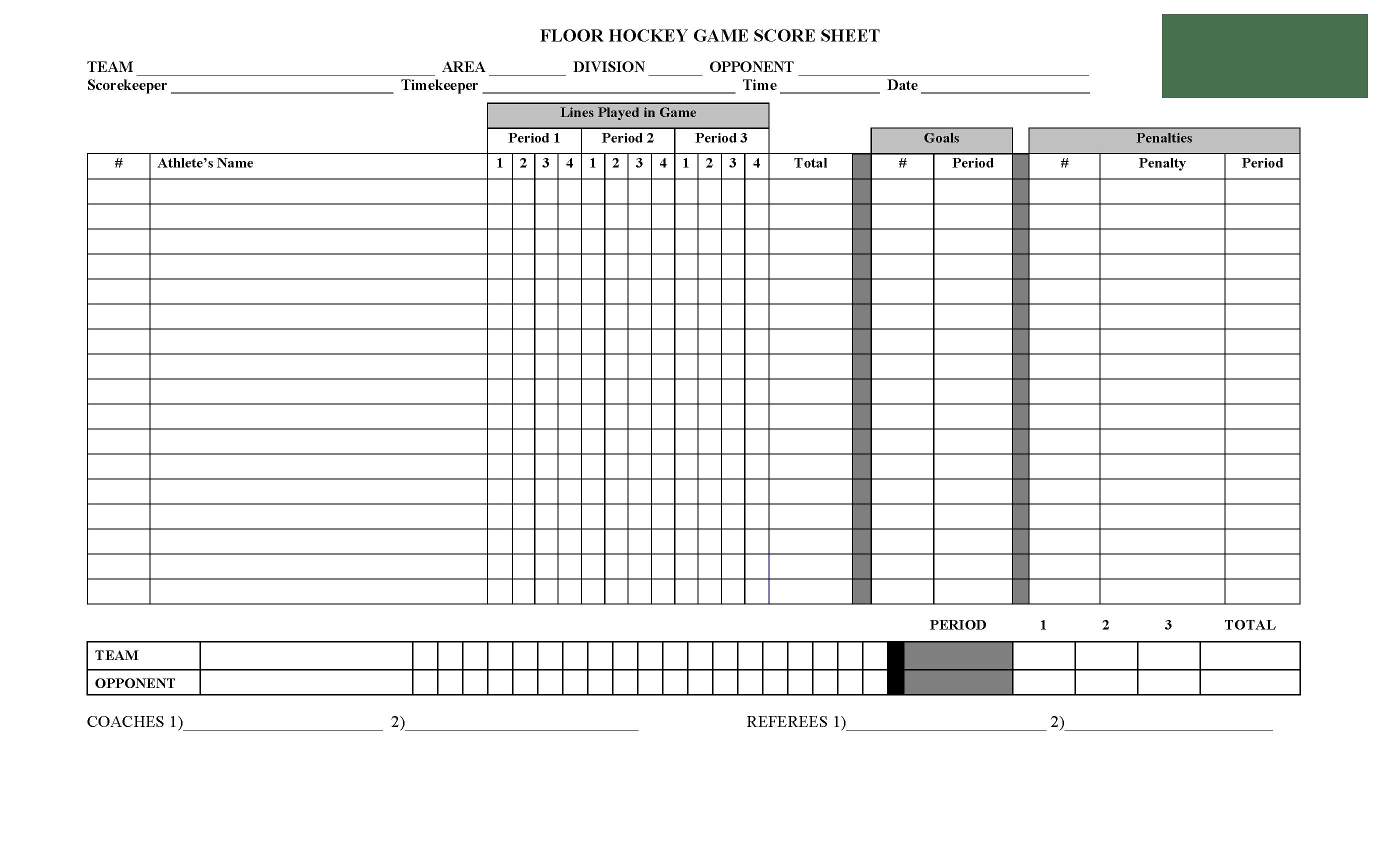 Score Sheet For Hockey