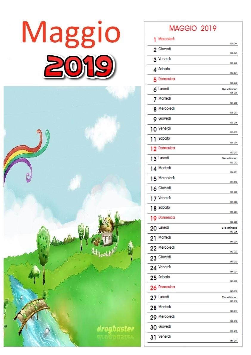 Calendario mensile 2019 da stampare gratis