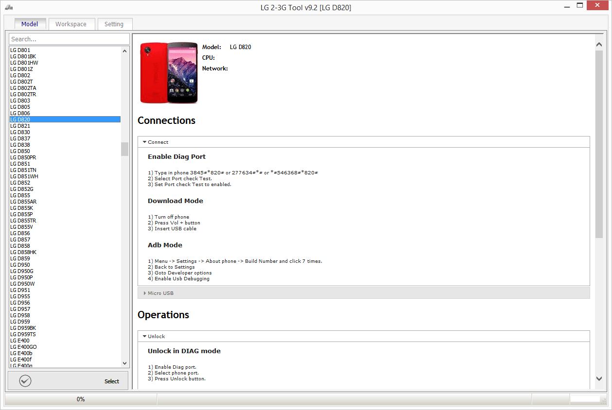 LG 2-3G Tool 9.43