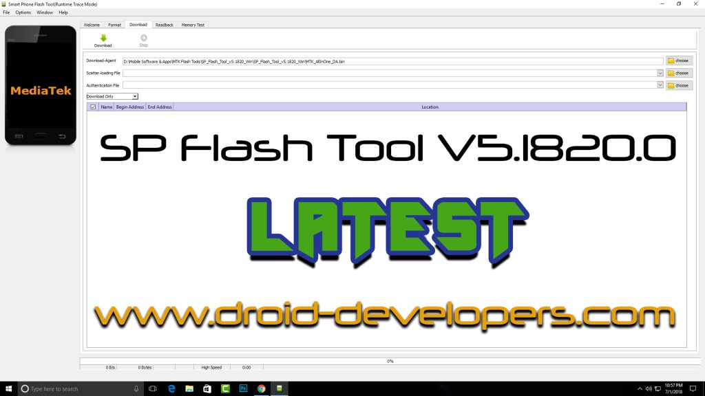 SP Flash Tool Download MTK  Flash Tool V5.1820.0