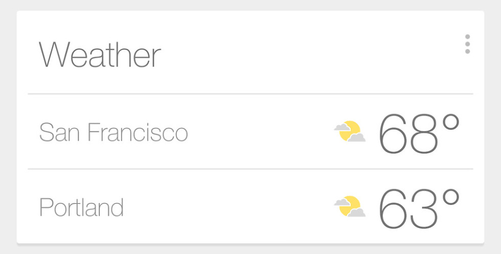 Google Now Weather Card Changes to Show Multiple Cities