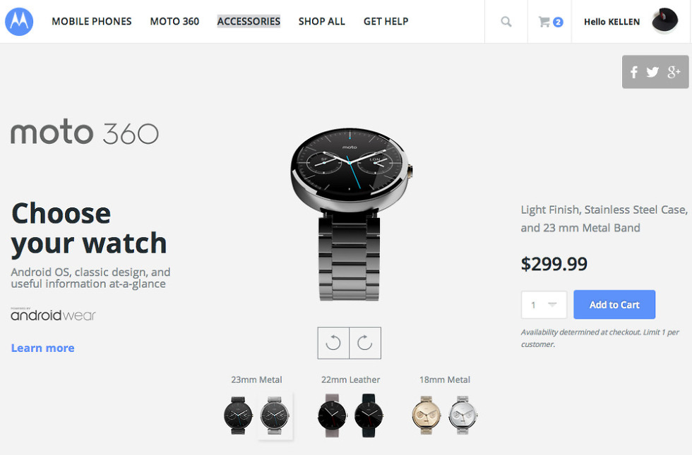 Moto 360 in Dark or Light Metal Now Available for $299
