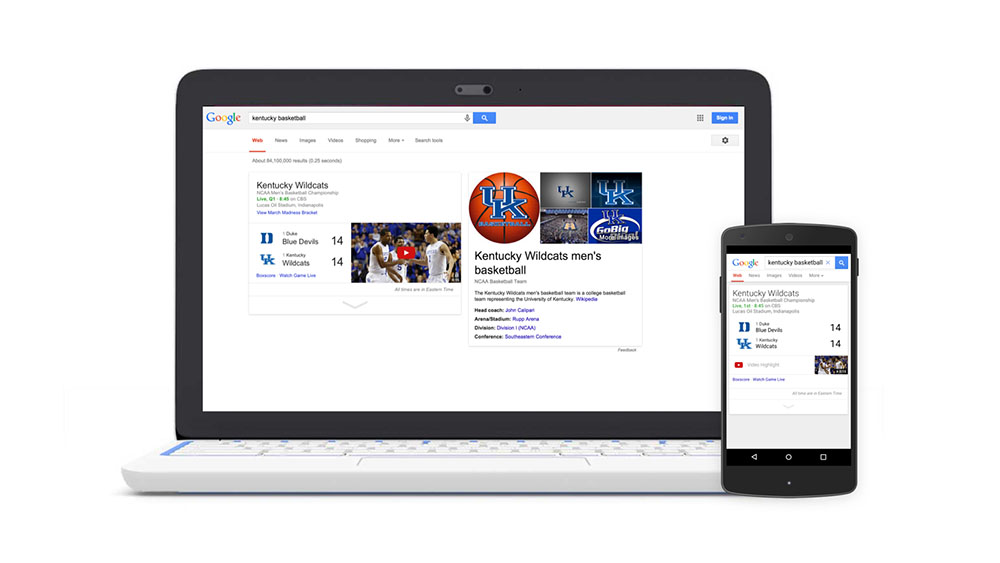NCAA March Madness Comes to YouTube, Google Search Results