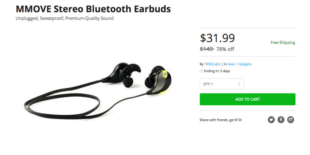 Deal: MMOVE Stereo Bluetooth Earbuds for $32, Down From