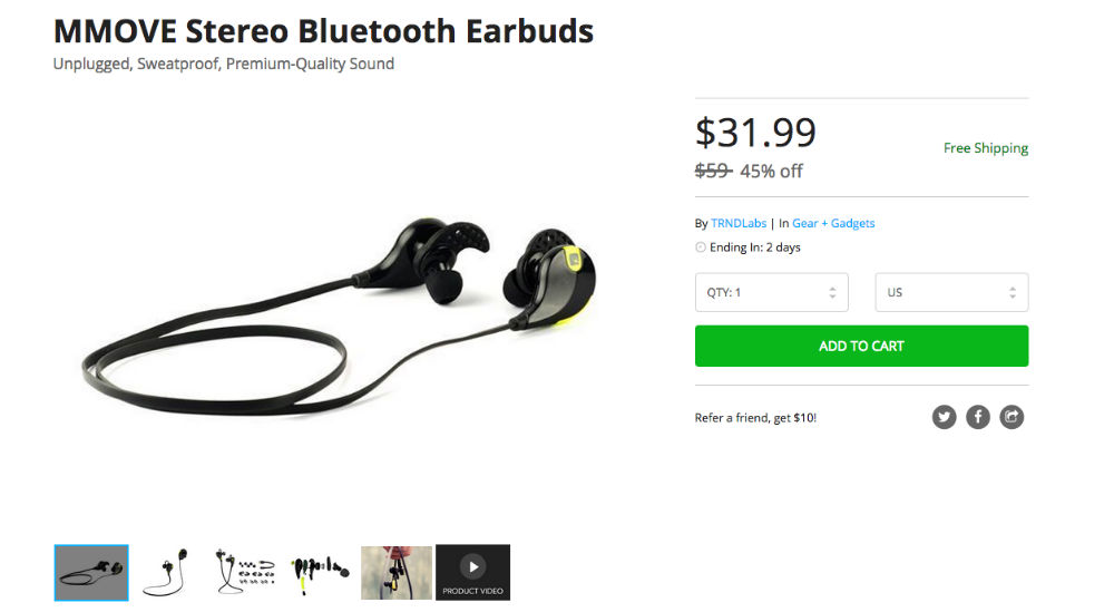 Deal: Rock These MMOVE Stereo Bluetooth Earbuds for $32