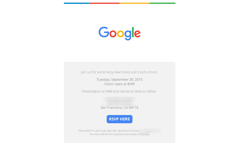 Google Sending Out Invites to Event on September 29 in SF