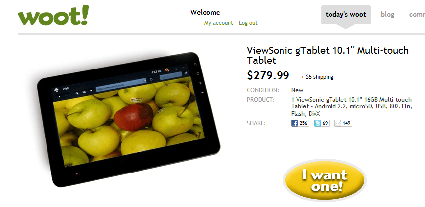 Deal: ViewSonic gTablet 10.1″ Android Tablet for $285 Shipped