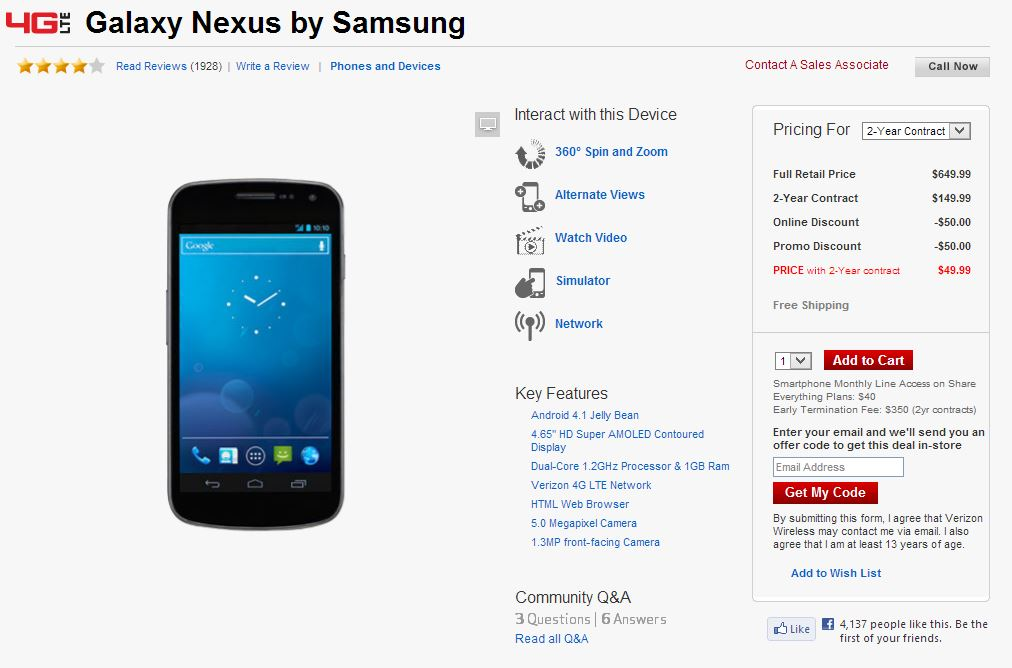 Verizon Galaxy Nexus drops to $50 on two-year plan