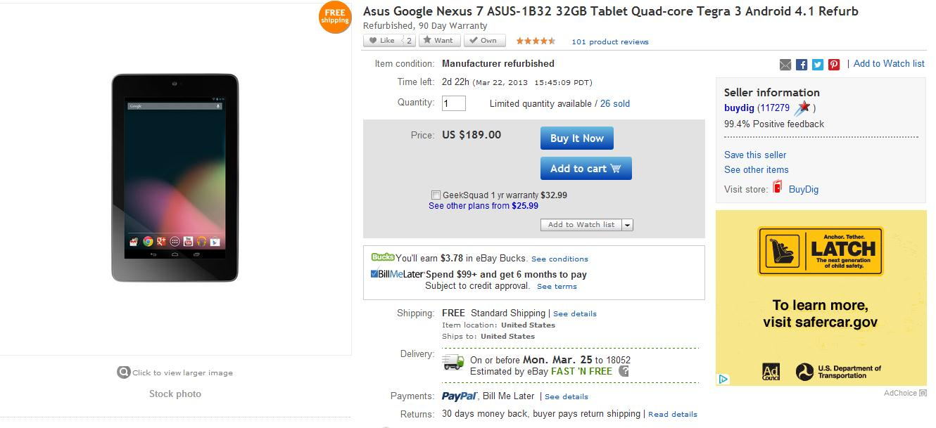 [Deal] Asus Nexus 7 32GB WiFi tablet $189 (Refurbished)
