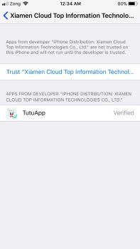 trust the tutuapp profile ios
