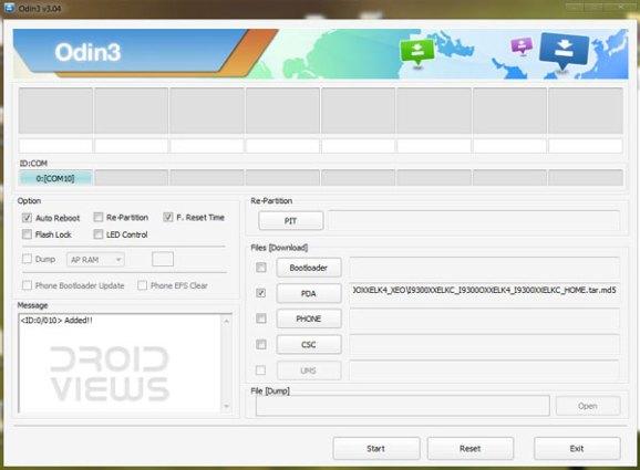 Installieren Sie die JellyBean-Firmware für Android 4.1.2 auf dem Galaxy Note 2 GT-N7100 - Screenshot von Odin3, um die JB-Firmware für Android 4.1.2 auf dem Galaxy Note 2 zu installieren - Droid Views
