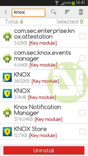 Deinstallation von KNOX auf Note-3