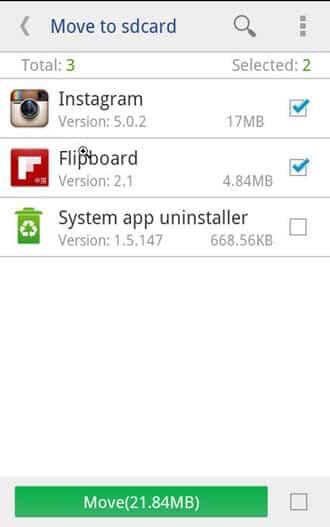 Verschieben Sie die App-Daten auf die SD-Karte