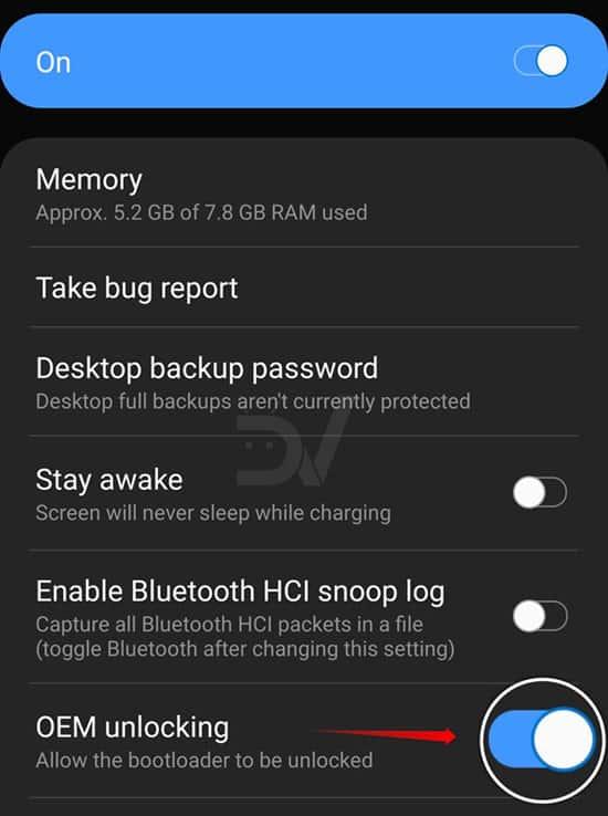 S10 OEM unlocking settings