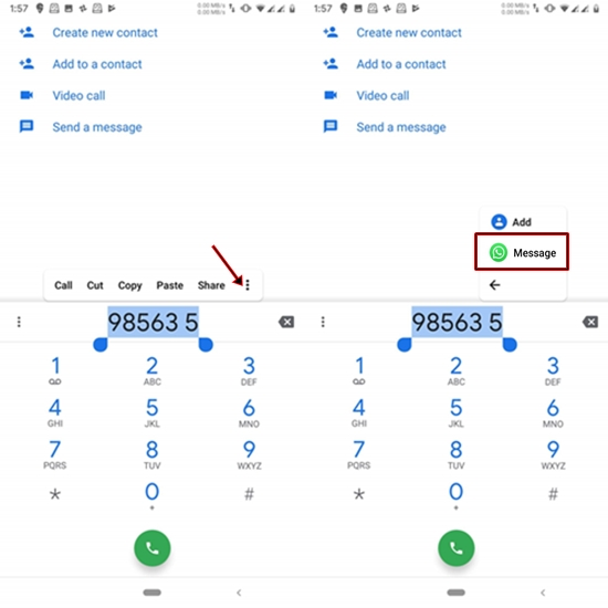 send a WhatsApp shortcut in the dialer
