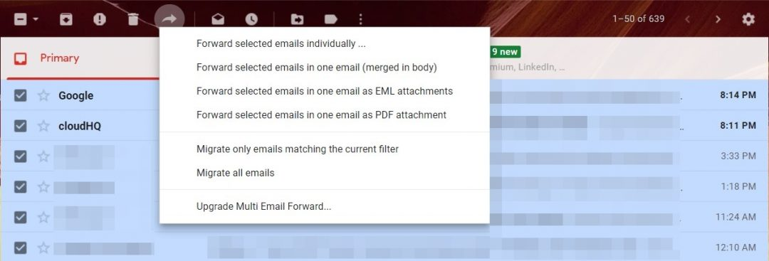 Weiterleiten mehrerer E-Mail-Optionen