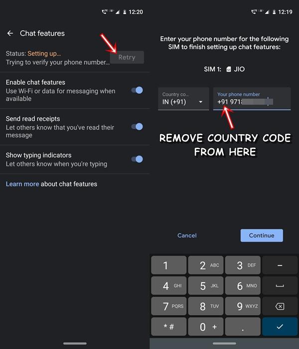 Ländercode entfernen