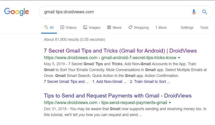 5. Suchen Sie auf bestimmten Websites