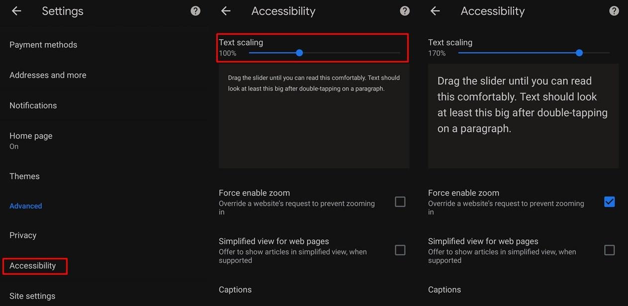 Skalierungseinstellungen für Chrome Text