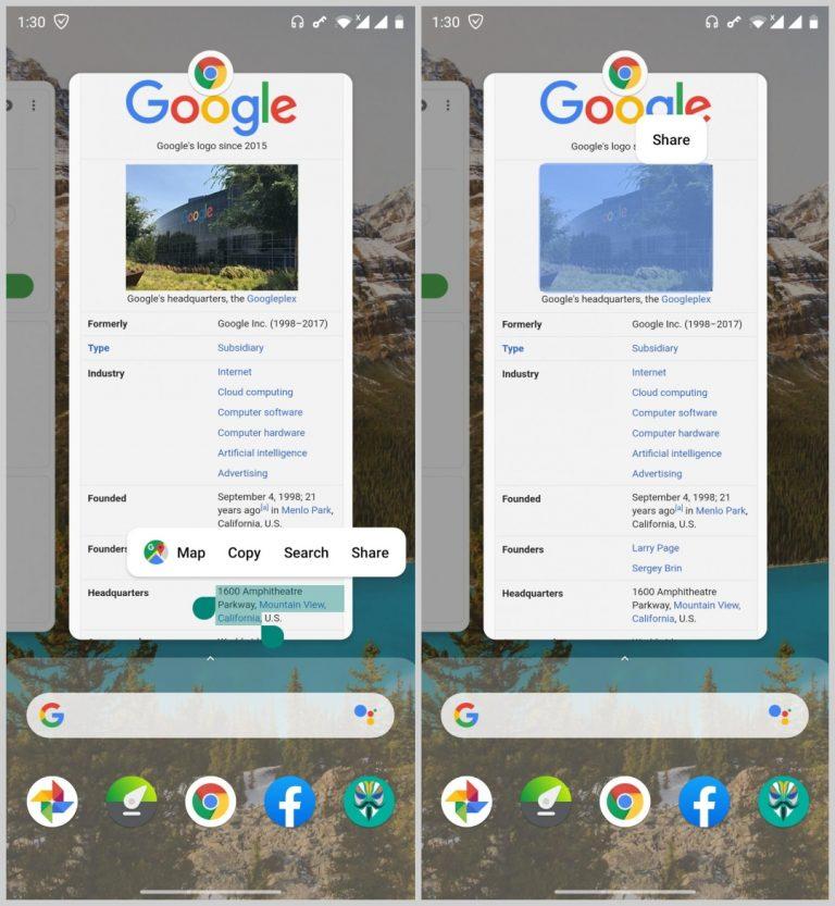 Pixel 4 Launcher Übersicht Bildtextauswahl
