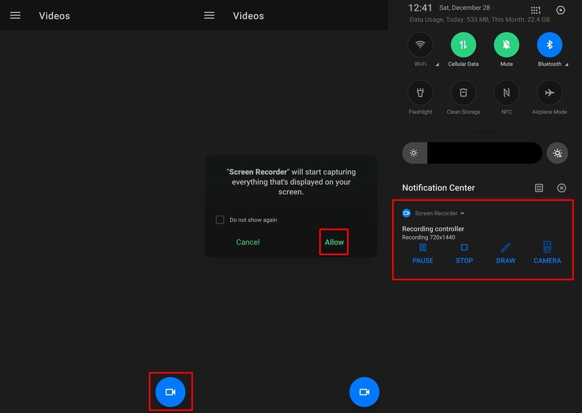 Aufnahmebildschirm mit Screen Recorder