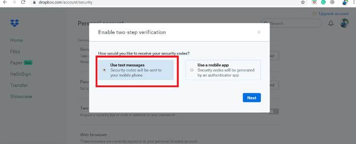 Aktivieren Sie die Textnachrichtenoption für die Zwei-Faktor-Authentifizierung