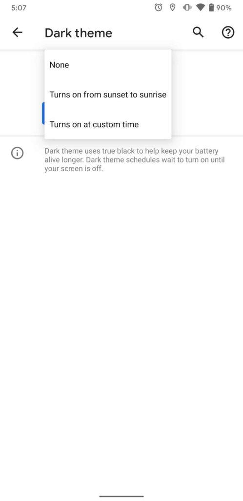Android 11 Dark Mode Zeitplan