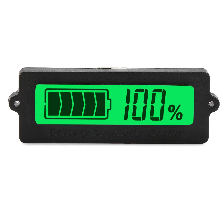 hight resolution of digital tester dc 12v 24v 36v 48v battery capacity monitor meter waterproof lcd green backlight indicator