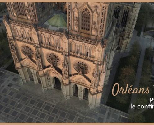 cathédrale d'Orléans vue par drone. Confinement à Orléans. Pas de vies dans les rues.