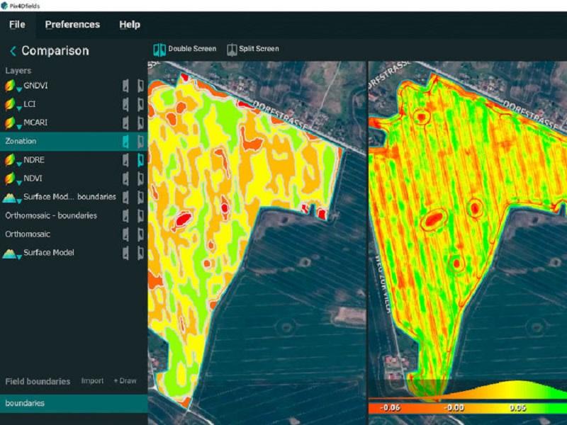 Pix4Dfields-comparazione-mappe Software