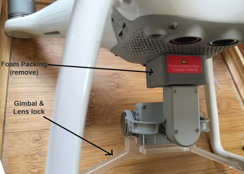 Gimbal lock and foam packing - remove both before powering up!