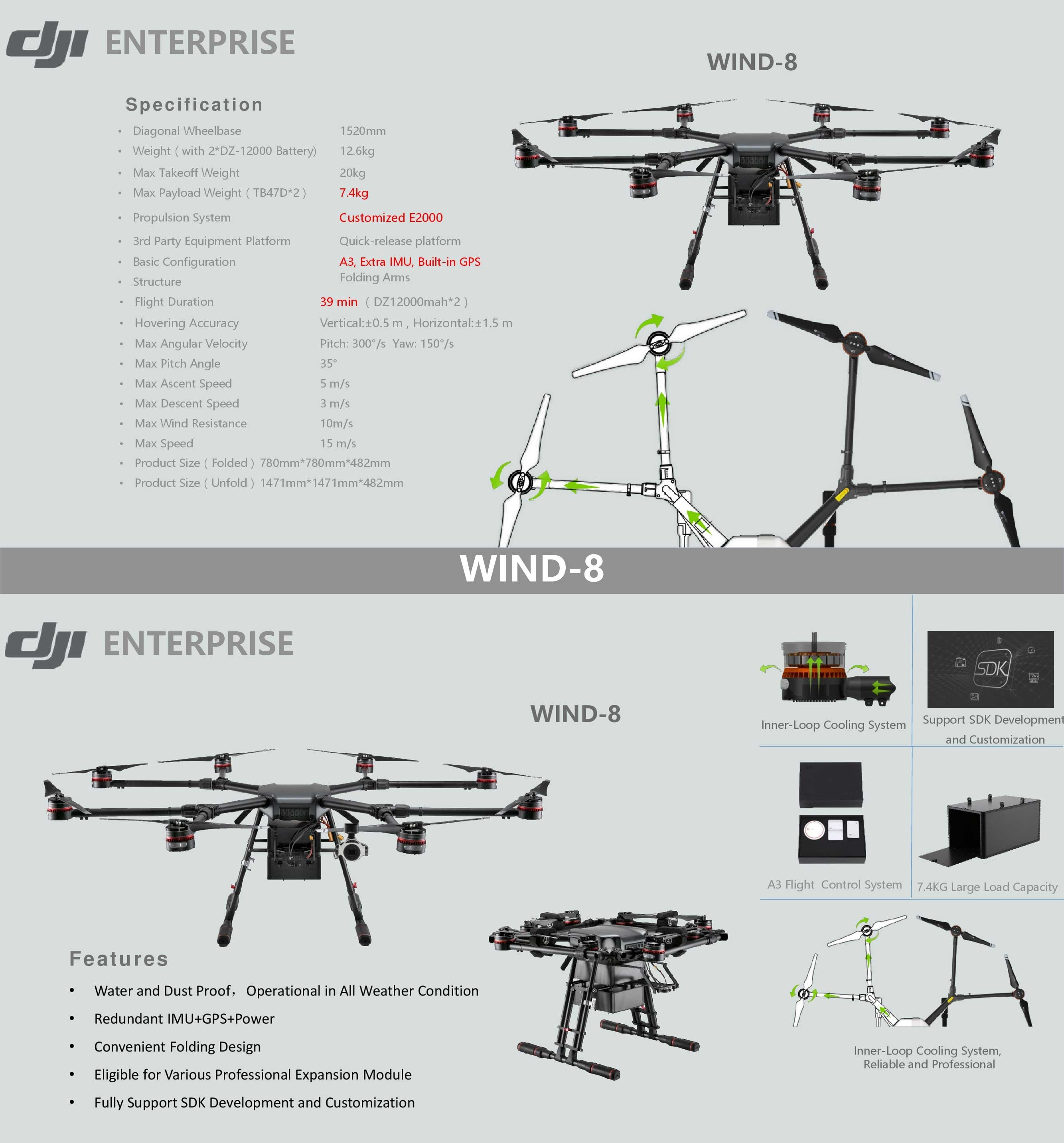 Buy Dji Wind 8 Industrial Octocopter Drone Ip56 Rain And Dust Resistance 10kg Payload Today At