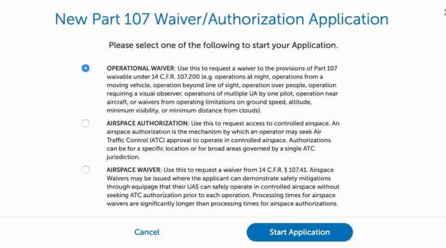 FAA Part 107 Exemption Waiver